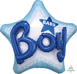 Baby Boy -  3D effect - XXL Folie Ster Ballon- 32x32Inch/81x81cm