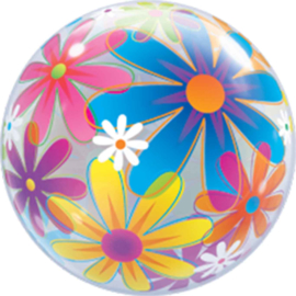 Bloemen print -Doorzichtige Bubbles Ballon - 22 Inch/56cm