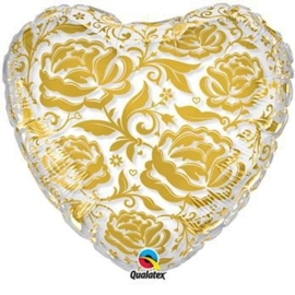 Roses - transparant hartjes ballon - goud - 24 inch