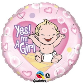 Yes! I'm a Girl - Folie ballon - 18 Inch /45cm
