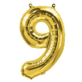 Cijfer - 9 - nummer - Goud - Folie ballon (lucht) - 16inch / 40 cm