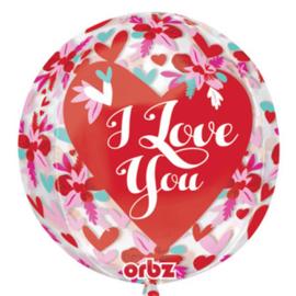 I Love You - Hartjes/Bloemen - -doorzichtig -Orbz  Ballon - 16 Inch/40 cm