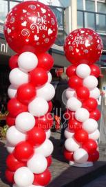 Ballonnen Pilaar - Standaard - Rood, Wit - Voorbedrukte Top Ballon
