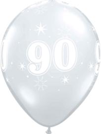 90 - Nummer - Doorzichtige - latex ballon - 11 Inch. / 27,5cm- 5st.