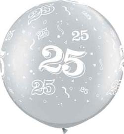 25 - Latex ballon- XXL -  Zilver  - 25 jarig huwelijk - 30 inch/75cm