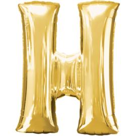 Letter H ballon goud 86 cm - folieballon letter alfabet helium of lucht