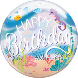 Kleine Zeemeermin - Happy Birthday -  Bubble Ballon - 22 Inch/ 56 cm