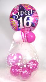 Cadeau - Kado Ballon - Sweet 16 - Happy Birthday -  Folie Topballon