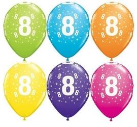 8 - nummer - div. Kleuren - latex ballon - 11 inch/27,5m
