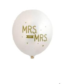 A Little Lovely Company - Mrs. and Mrs. - Metallic White - Gouden opdruk - Latex Ballon - 12inch