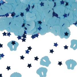 Tafel Confetti - Sier Confetti   Baby Voetjes / sterretjes   Kleur : Baby Blauw  Gewicht:14gr.