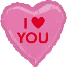I Love You - Hart - Roze  -  Folie Ballon - 17 inch/43 cm