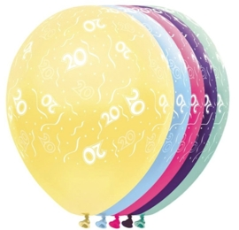 20 - Nummer - div. kleuren - latex ballon - 11 Inch. / 27,5 cm