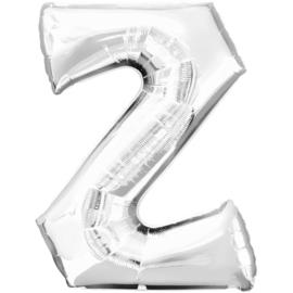 Letter Z ballon zilver 86 cm - folieballon letter alfabet helium of lucht