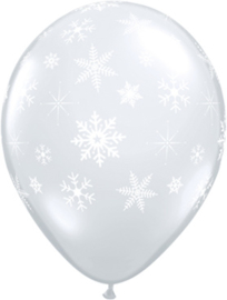Sneeuwvlokken  - Transparant - Latex Ballon - 11 Inch./ 27,5cm -5st