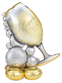 Staande Cheers  Champagne Glas Bubbels Mega Folie Ballon- 51 Inch/129cm