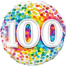 100 - Folie Ballon - Diversen Kleuren Confetti opdruk - 18 Inch. / 46 cm