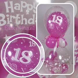 18 - Nummer - Doorzichtige - latex ballon - 11 Inch. / 27,5cm