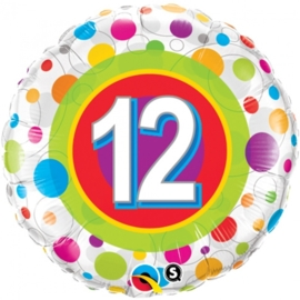 12 - Folie ballon - kleurige Stippen- 18 inch/45cm