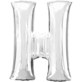 Letter H ballon zilver 86 cm - folieballon letter alfabet helium of lucht