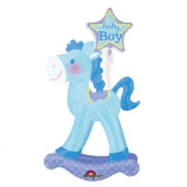 Airwalker - Hobbel Paard  - Baby Boy - Blauwe XXL Folie Ballon - 58x127 cm