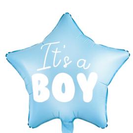 It's a Boy -Blauw - Hart Folie Ballon - 18 inch/45cm
