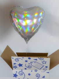 Hart - Parelmoer - Folie Ballon - 17 Inch/43cm