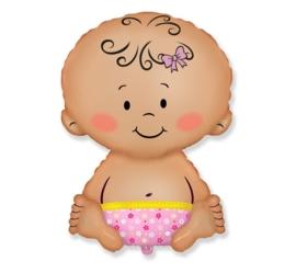 Baby - Girl / Meisje - Folie ballon  - XXL -  24 inch/60cm