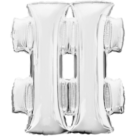 Hashtag ballon zilver 86 cm - # - folieballon letter alfabet helium of lucht