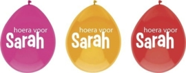 Hoera voor Sarah - Rood/Fuchia/Oranje - Latex ballon