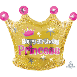 Happy Birthday Princess - Gouden Kroon Folie Ballon -20x16inch/50x40 cm