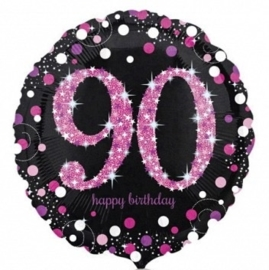 90 - Folie Ballon- Happy Birthday -Confetti - Fuchsia / Zwart  17 Inch / 43 cm.