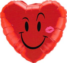 Hart Ballon - Gezicht Smile en Kus - Rood - 18 Inch / 46 cm