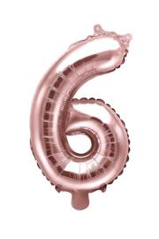 Cijfer - 6 - nummer - Rose Goud - Folie Ballon (lucht) 35 cm