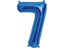 Cijfer - 7 -  nummer - Blauw - Folie ballon (lucht) - 16inch / 40 cm