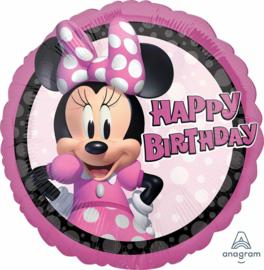 Disney -Minnie Mouse - Happy Birthday Folie Ballon - Roze - 17 Inch/43cm