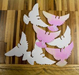 Tafel Confetti - Sier Confetti XL - Duifjes   - Trouwen - Kleur : Irredescent  Gewicht:14gr.
