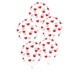 Hartjes ballonnen - rood - liefde love valentijn ballon - doorzichtig - 5stk. latex transparant - hart opdruk - ballonplus