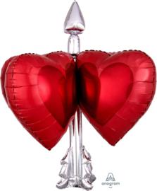 Liefdes Pijl - XL Folie Ballon- Rood/Zilver - 26x27 Inch/66x68cm