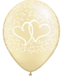 Liefdes Harten - Entwined Hearts - Pearl Ivory - Latex Ballon - 11 Inch/ 27,5 cm