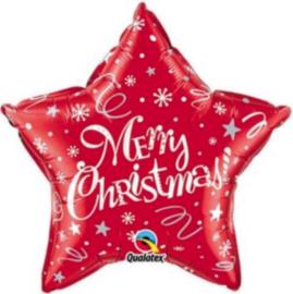 Merry Christmas - Ster - Rood - Folie Ballon - 20 Inch./51cm