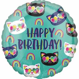 Happy Birthday- Regenboog / Cool Katten Koppen - 17 Inch/43 cm