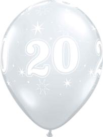 20 - Nummer - Doorzichtige - latex ballon - 11 Inch. / 27,5cm