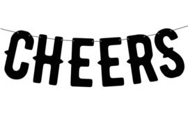 Letter Banner- Proost - Cheers - zwart - 50 cm lang - feestslinger - ballonplus