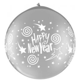 Happy New Year -  Zilver - XXL Latex Ballon - 30 Inch. / 75cm