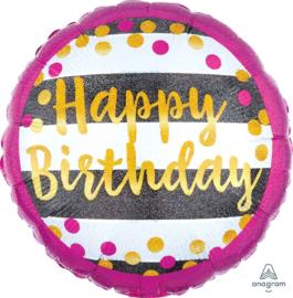 Happy Birthday- Zwart /Wit/Fuchsia/Goud - Holographic Folie Ballon-18 inch/45cm