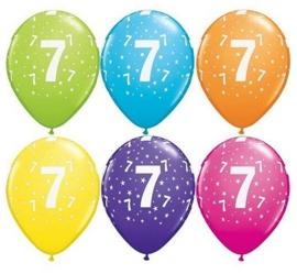 7 - nummer - div. Kleuren - latex ballon -11 inch/27,5m