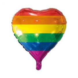 Regenboog - Hart- Rood,oranje,geel,groen,blauw,paars  Folie Ballon - 18 Inch/45 cm