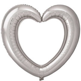 Foto / Selfie Frame Ballon - Zilveren - Hart  - Folie Ballon - 80x70cm