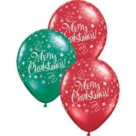 Merry Christmas - Rood / Groen - LatexBallon - 11 Inch. /27,5cm-5st